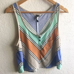 O'Neill Surf Slate Flowy Striped Henley Tank Top